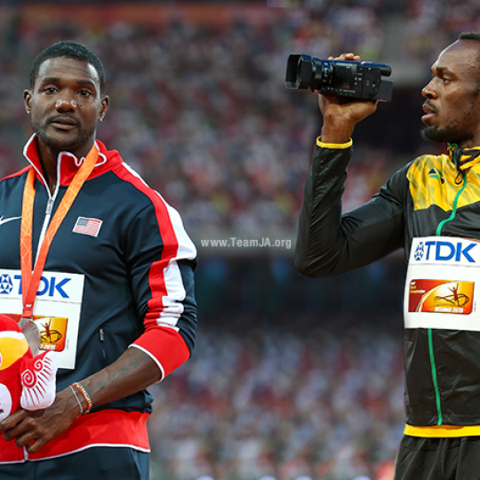 Justin Gatlin and Usain Bolt IAAF World Championships