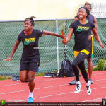 Jamaicans Samantha Henry Robinson and Sherone Simpson during training session in Nassau Bahamas for 2015 IAAF World Relays