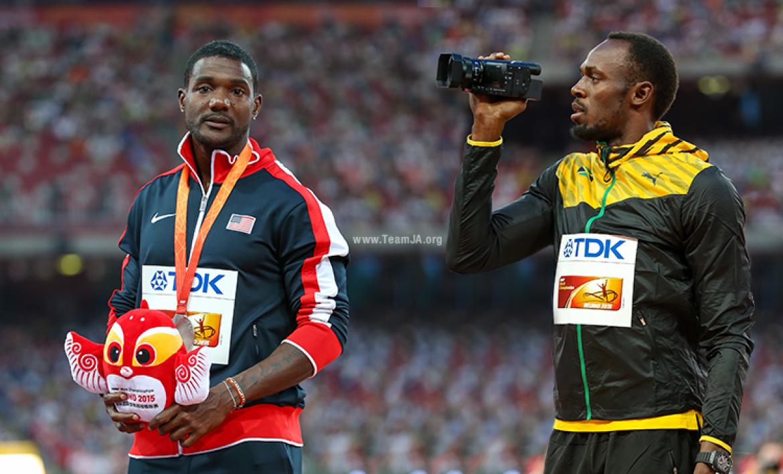 Justin Gatlin and Usain Bolt IAAF World Championships